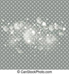 particules, mode, étoile, espace, tail., étincelant, transparent, charme, arrière-plan., vecteur, illustration, poussière, comète, piste, scintillement