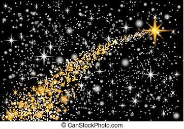 particules, mode, étoile, illustration., or, espace, tail., étincelant, transparent, charme, arrière-plan., vecteur, poussière, comète, piste, scintillement