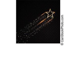 particules, mode, étoile, or, espace, tail., spirale, étincelant, transparent, charme, arrière-plan., vecteur, illustration, poussière, comète, piste, scintillement