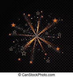 particules, mode, explosion, illustration., or, espace, tail., étincelant, transparent, charme, arrière-plan., vecteur, poussière, comète, piste étoile, scintillement