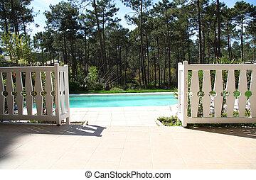 particulier, ingang, zwembad, aanzicht