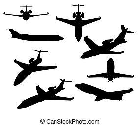 particulier, witte , straalvliegtuig, achtergrond