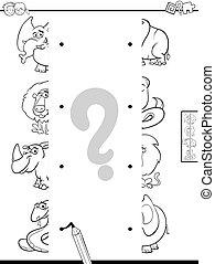 partida, metades, de, cute, animais, jogo, cor, livro
