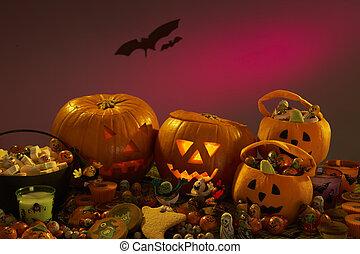 partido, abóboras, dia das bruxas, esculpido, decorações