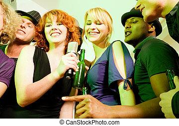 partido, amigos, grupo, karaoke