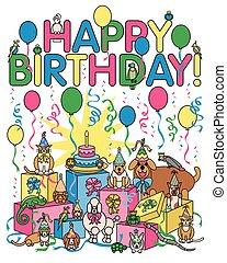partido, aniversário, animais