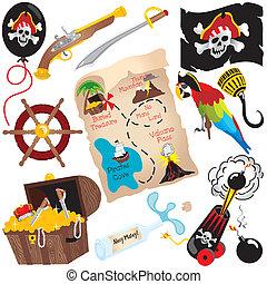 partido, aniversário, arte, pirata, clip