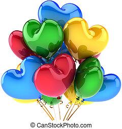 partido, aniversário, balões, corações