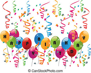 partido, aniversário, balões, feliz