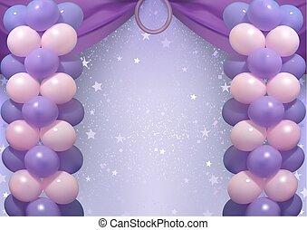 partido, aniversário, balões, fundo