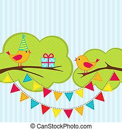 partido aniversário, cartão