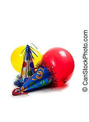 partido aniversário, chapéus, e, balões, ligado, um, branca, costas, chão