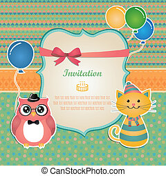 partido, aniversário, desenho, cartão, convite