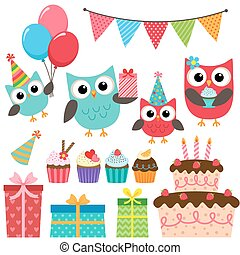 partido, aniversário, elementos, corujas