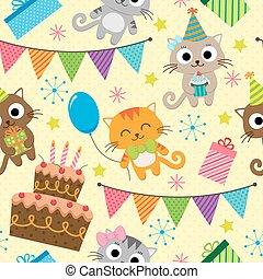 partido, aniversário, gatos, padrão