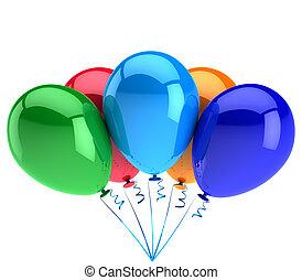partido, balões, cinco, feliz aniversário, comemorar, decoração, brilhante