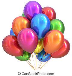 partido, balões, feliz aniversário, decoração, lustroso, coloridos