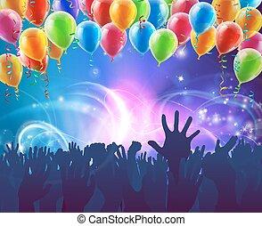 partido, balões, fundo, celebração