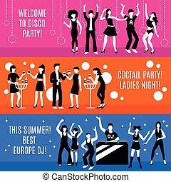 partido, bandeiras, jogo, discoteca