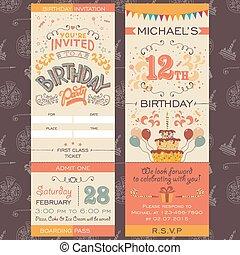 partido, bilhete, aniversário, convite