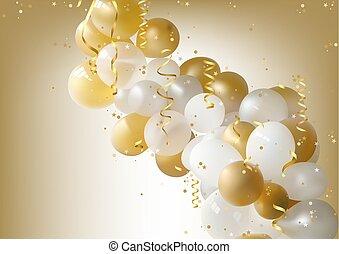 partido, branca, balões, fundo, ouro