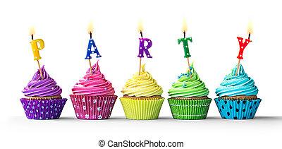 partido, branca, cupcakes, coloridos