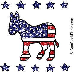 partido, burro, democrático, esboço