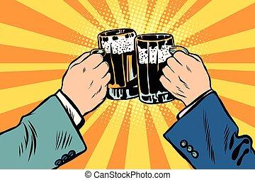 partido, cerveja, brindar, mãos, cartaz