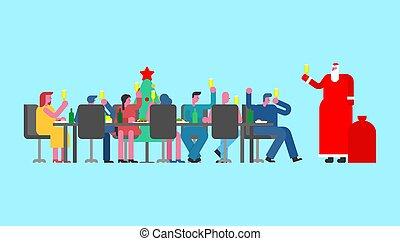 partido, colegas, claus, escritório., geada, pai, grande, jantar, santa, ano, russo, novo, feriado, tabela, rússia