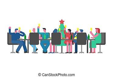 partido, colegas, work., escritório., novo, grande, jantar, ano, tabela, feriado, incorporado