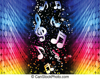 partido, coloridos, abstratos, -, vetorial, música, fundo, ondas, pretas, notas