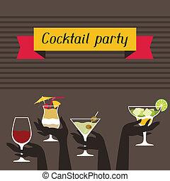partido, convite, bebidas, álcool, cocktails.