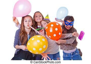 partido, crianças, aniversário