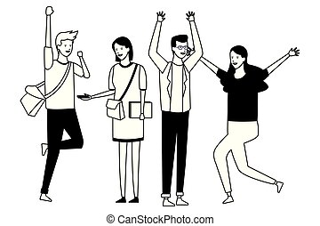 partido, dancehall, estudante, pessoas