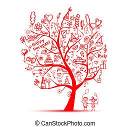 partido, desenho, seu, árvore
