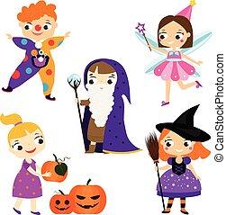 partido, dia das bruxas, trajes, kids., crianças