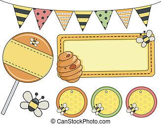 partido, elementos, desenho, abelha