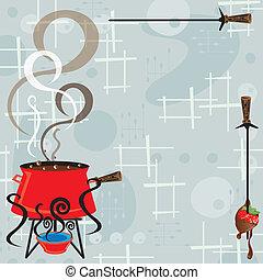 partido, fondue, retro, chocolate
