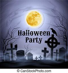partido halloween, ligado, um, spooky, cemitério, sob, lua...
