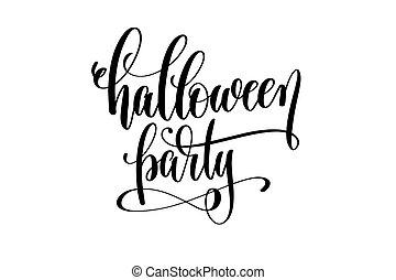 partido halloween, mão, lettering, feriado, inscrição