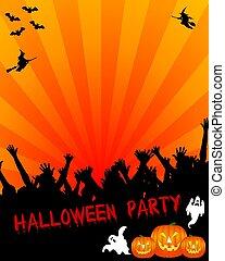 partido halloween, painél publicitário