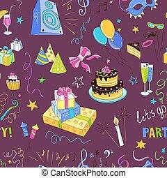 partido, hand-drawn, ícone, colorido, padrão