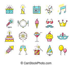 partido, icons., celebração, illustration.