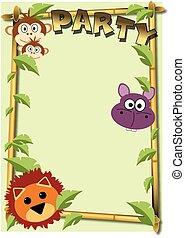 partido, jardim zoológico, selva, convite