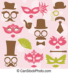 partido, jogo, óculos, lábios, -, máscaras, vetorial, retro, foto, scrapbook, barraca, chapéus, desenho, bigodes
