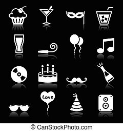 partido, jogo, -, aniversário, ícones