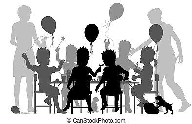 partido, meninas, ilustração
