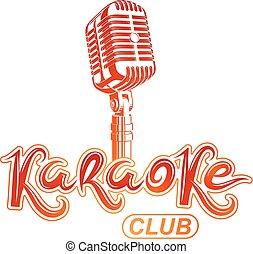partido, microfone, emblema, criado, clube, equipment., danceteria, vetorial, convite, usando, áudio, karaoke, lettering, fase