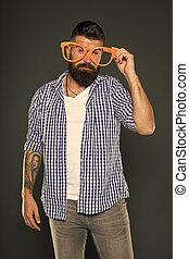 partido., mind., só, meu, sujeito, barbudo, hipster, homem, beard., óculos, partido, entretendo, himself., desfrutando, engraçado, moda, divertimento, desgastar, extravagante, brincalhão, glasses., accessory.