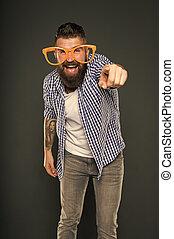 partido, moda, homem, óculos, mind., desgastar, glasses., desfrutando, accessory., hipster, só, beard., extravagante, divertimento, mesmo, partido., barbudo, meu, sujeito, brincalhão, engraçado, entretendo